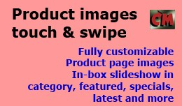 Product images touch and swipe