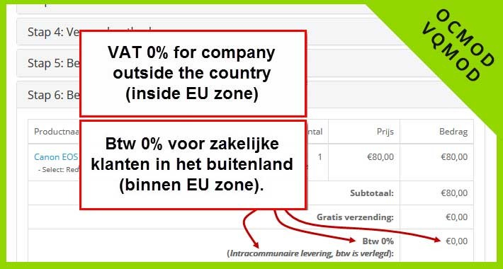 BTW verlegd - EU zone / VAT shifted - EU Zone