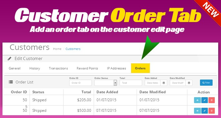 Customer Order Tab