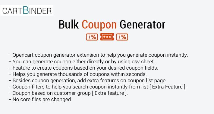 Bulk Coupon Generator/Import ( Automatic & Csv Sheet)