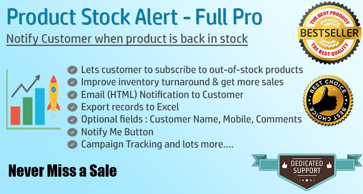 Notify When Availabile/Back in stock Email - FULL PRO