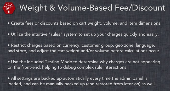 (2.x/3.x) Weight & Volume-Based Fee/Discount