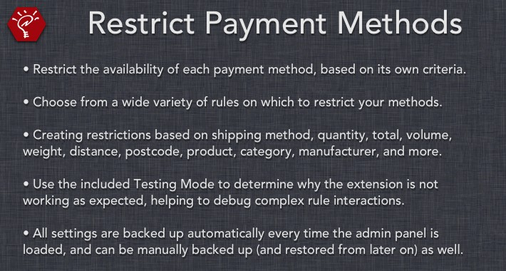 [OLD] Restrict Payment Methods