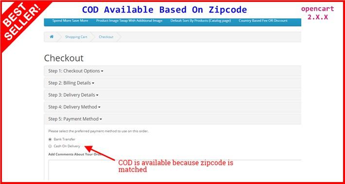 COD Available Based On Zipcode