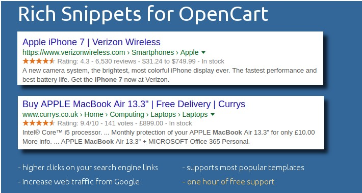 SEO Rich Snippets Microdata for OpenCart [FULL PACK]