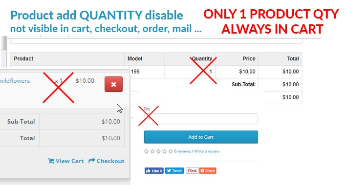 Disable Product Quantity Allow add only one product qty in cart