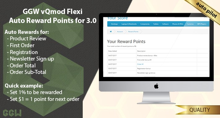 OpenCart - GGW vQmod Flexi Auto Reward Points Open Cart v3 0