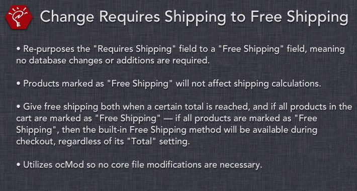 (2.x/3.x) Change Requires Shipping to Free Shipping