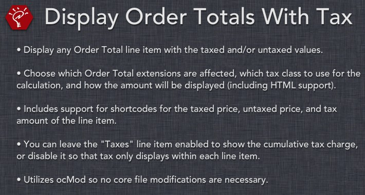 [OLD] Display Order Totals With Tax