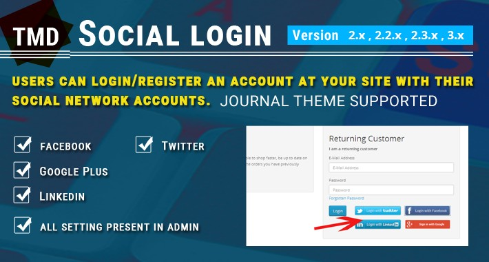 Social Login (Facebook, google, twitter, LinkedIn)