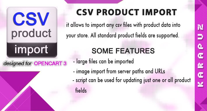 CSV Product Import (for Opencart 3)