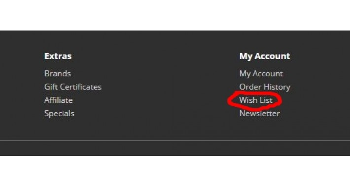 Remove Wish List from Footer – OpenCart 3.x [OCMOD]