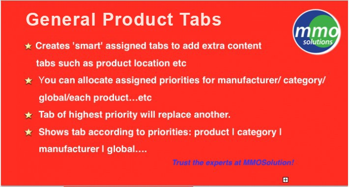General Product Tabs