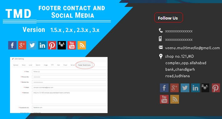 Footer contact and Social media (1.5.x , 2.x & 3.x )