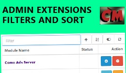 Admin extensions filters and sort