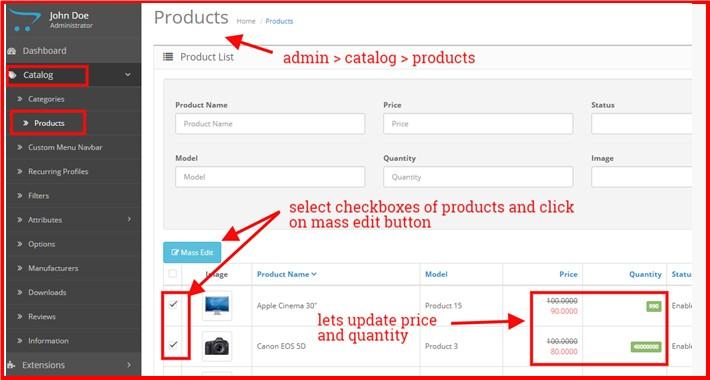 Admin Product Mass Edit
