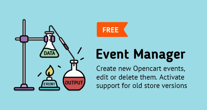 Event Manager for Opencart (create, edit, delete event actions)