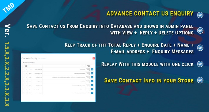 Contact us form save,reply,delete from admin(1.5.x ,2.x&3.x)