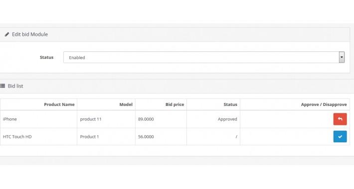 Auction ( bid ) module