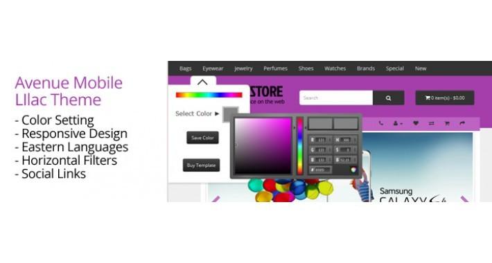 OpenCart 3 Theme Avenue Mobile Lilac