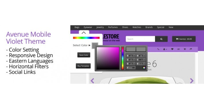OpenCart 3 Theme Avenue Mobile Violet