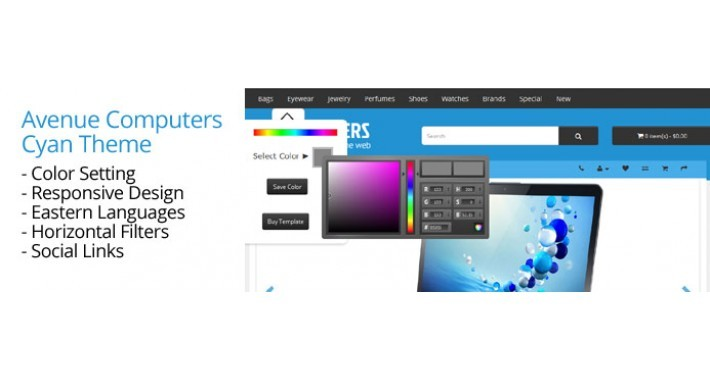 OpenCart 3 Theme Avenue Computers Cyan