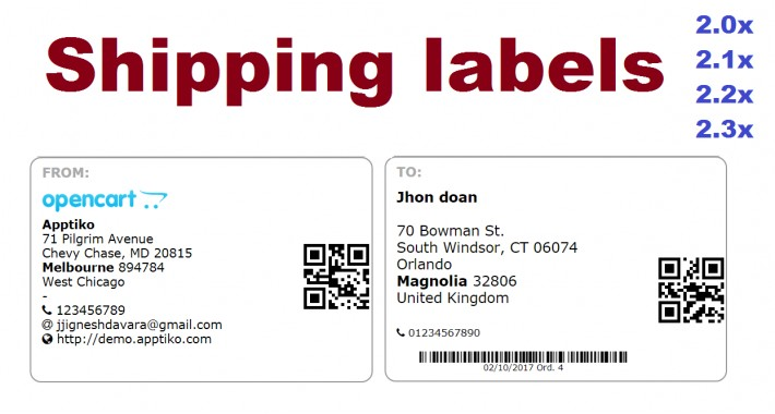 Shipping labels OC2x