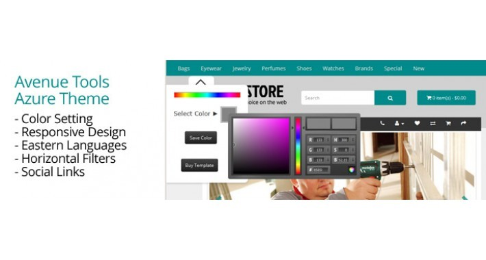 OpenCart 3 Theme Avenue Tools Azure