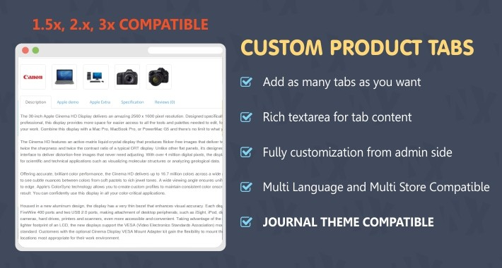 Add Custom Tabs or Extra Tabs in Products ( 1.5x, 2x and 3x  )