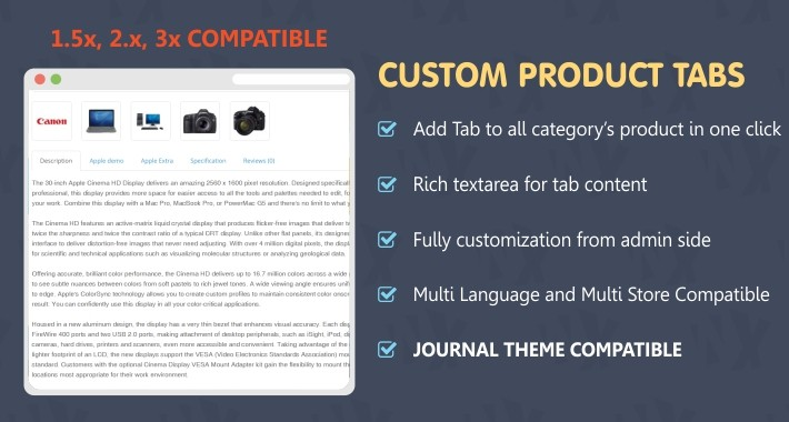 Advance Custom Tabs or Extra Tabs in All The Products