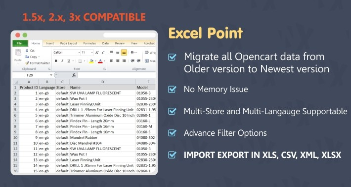 Excel Point - Import Export Tool -  (1.5x, 2.x & 3x)
