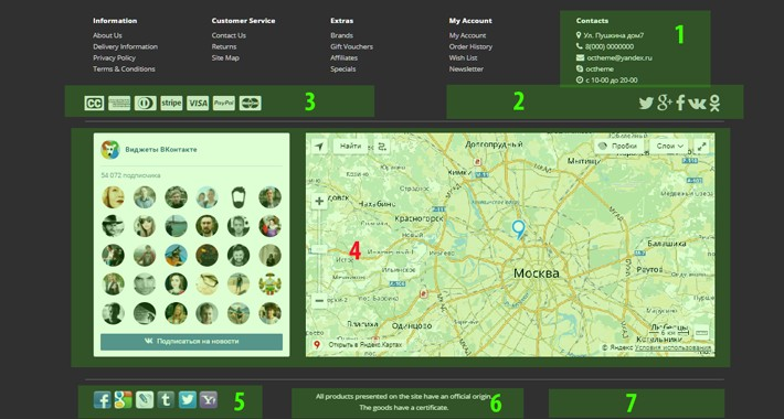 Add Footer - Social, Сontacts, Payment, HTML, Map