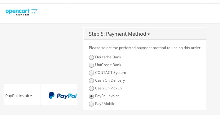OpenCart Payment Extension PayPal Invoice - Invoice payment system