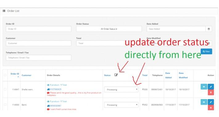 Quick & Bulk Update Order Status from dashboard