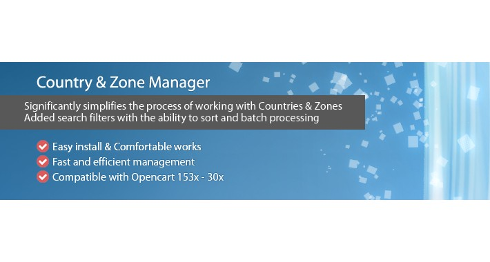 Country Zone Manager - comfortable work with zones&countries