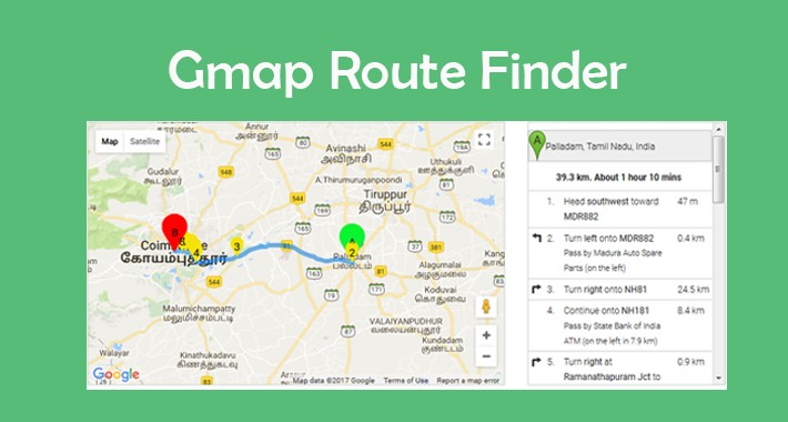 Google map route finder