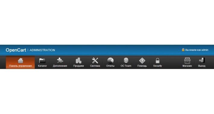 Admin menu with images