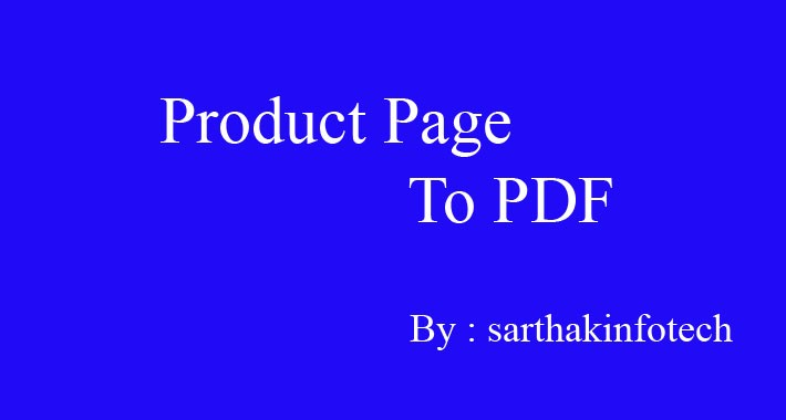 Product Page To PDF