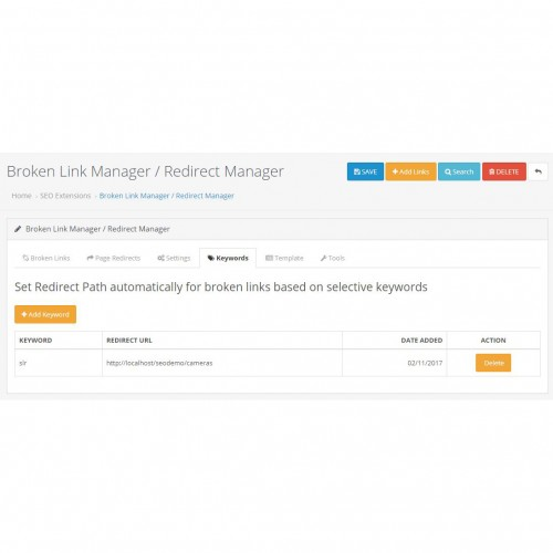 OpenCart - Broken Link Redirect Manager / Auto Redirect Manager