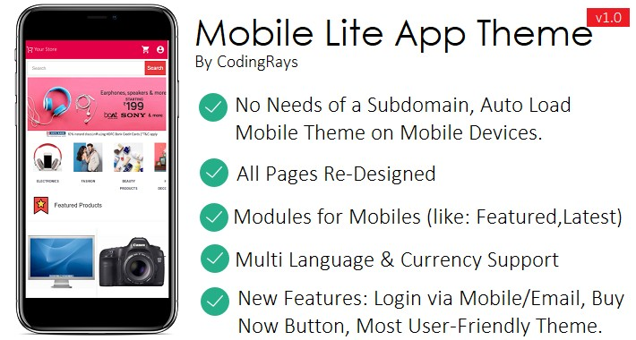 Mobile Lite App Theme - Mobile OpenCart Template