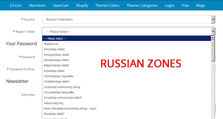 Names Region Russian Federation