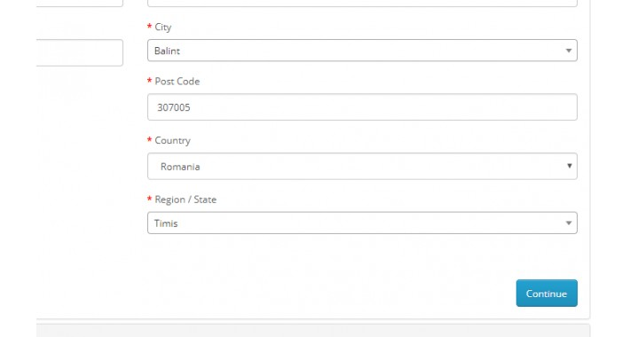 Autocomplete Checkout City and Zip by Region for Romania