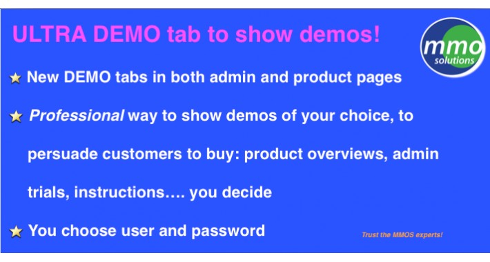 Ultra Demo tab on Product and Admin