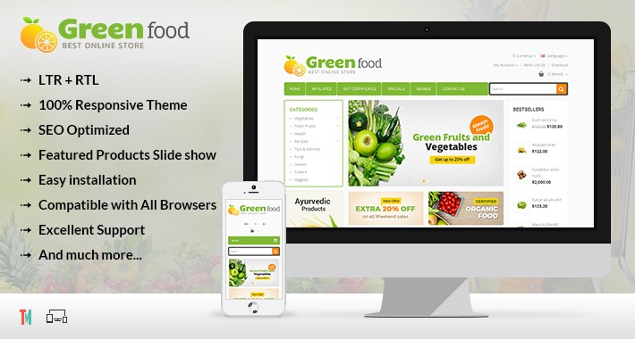Green Food Opencart 2 & 3 Theme - OPCADD012