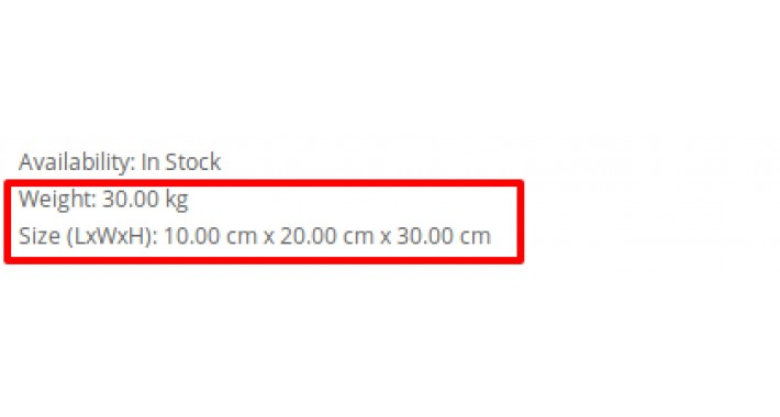 Show Product Dimensions with Unit