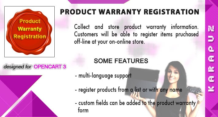 Product Warranty Registration (for Opencart 3)