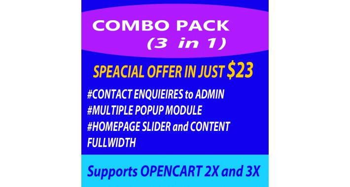 Best Offer Combo 3 in 1(Fullwidth Slider+Popup+Contact Admin)