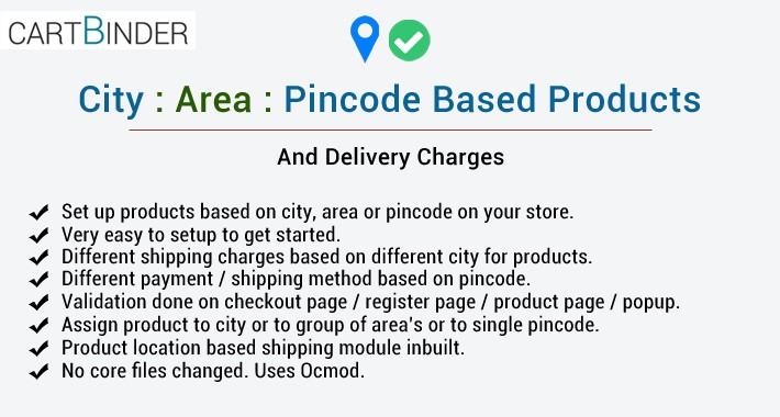 City area pincode based products & delivery charges