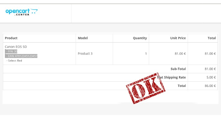 Sales order - Invoice with product numbers