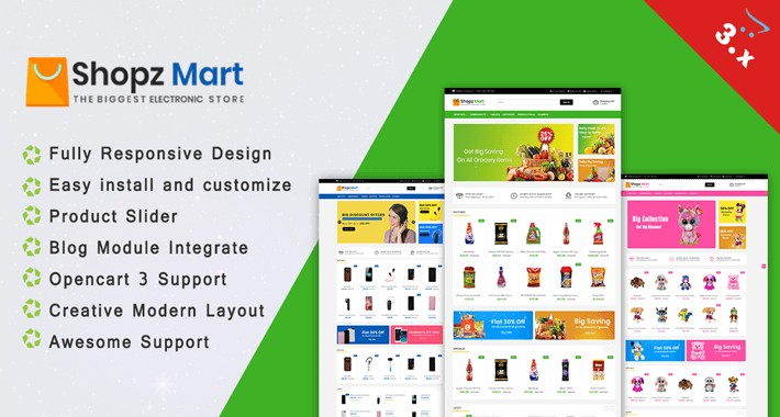 Shopz Mart OpenCart 3.X Theme(Electronic, Toy store, Grocery)